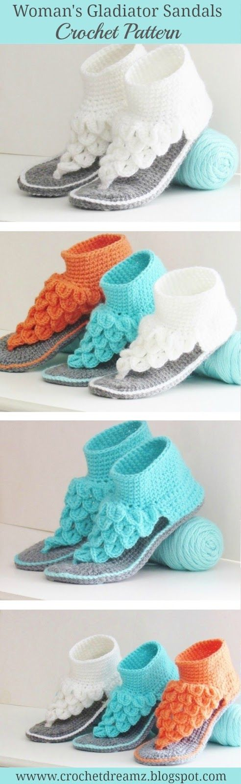 Crocodile Stitch Gladiator Sandals for Women, Crochet Pattern, Both ...