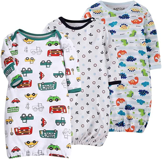 Organic Cotton Lightweight 0-18 Months Sleeper for Easier Diaper Changing with Mitten Cuffs Marquebaby Baby Sleep Gown