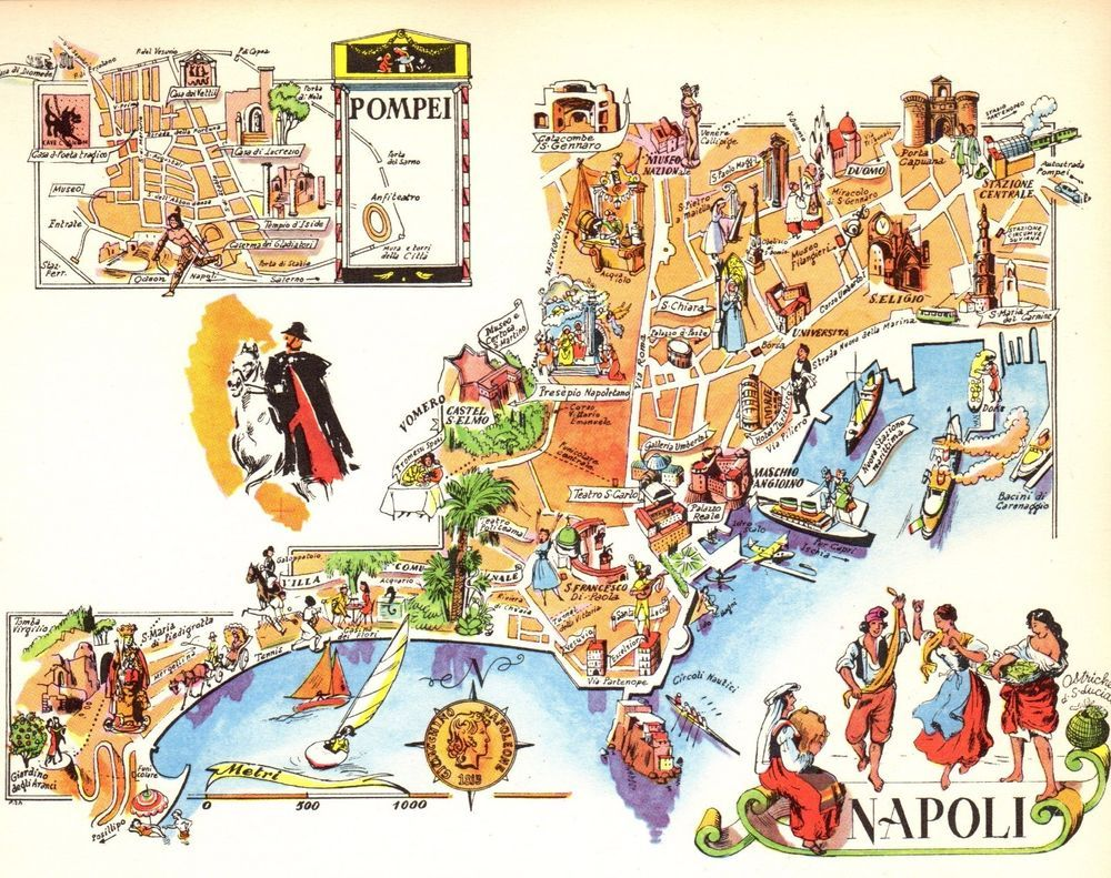 Vintage NAPLES ITALY Map Picture Map of Italy Pictorial Map Fra 3826 ...