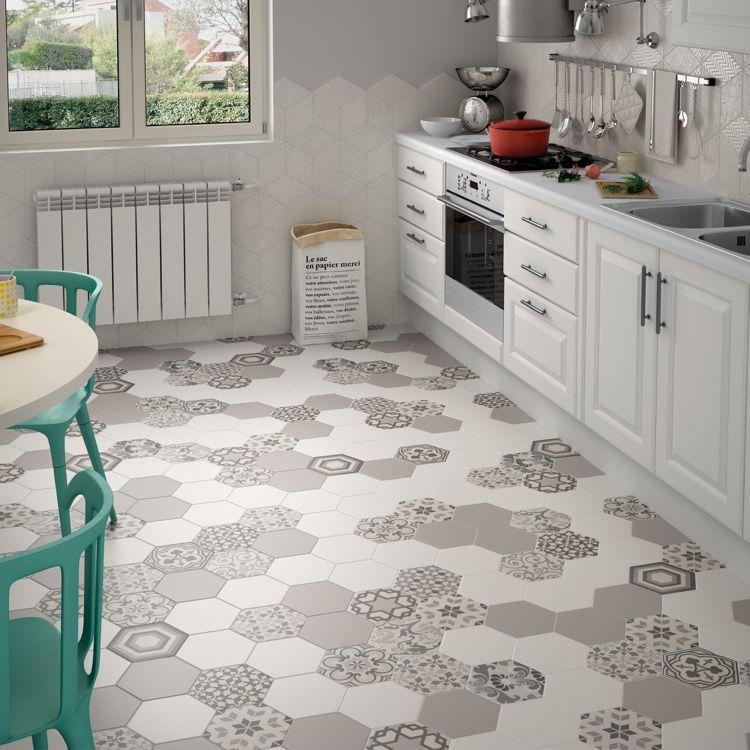 neue Küchenideen Hexagon Fliesen gemustert Farbe Greige | Wohnideen ...