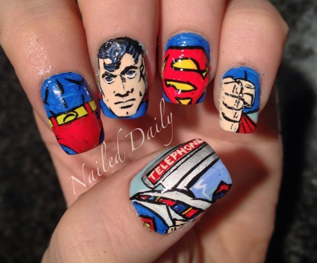 Superman by Nailed Daily- I should do this to celebrate the new,Superman movie with the hubby as I wont be able to go