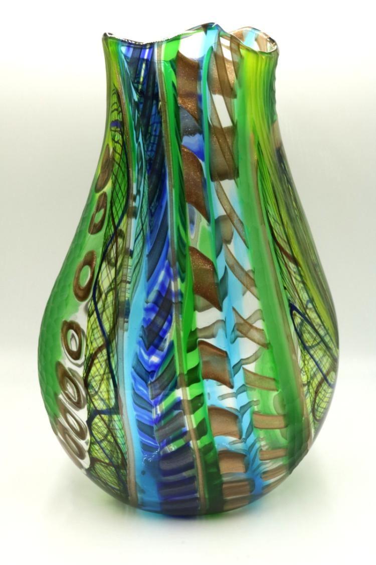 a36bf477215 Luca Vidal Italian Multi-Colored Murano Art Glass Vase. Signed on bottom.  Green   Blue   Gold Vase.