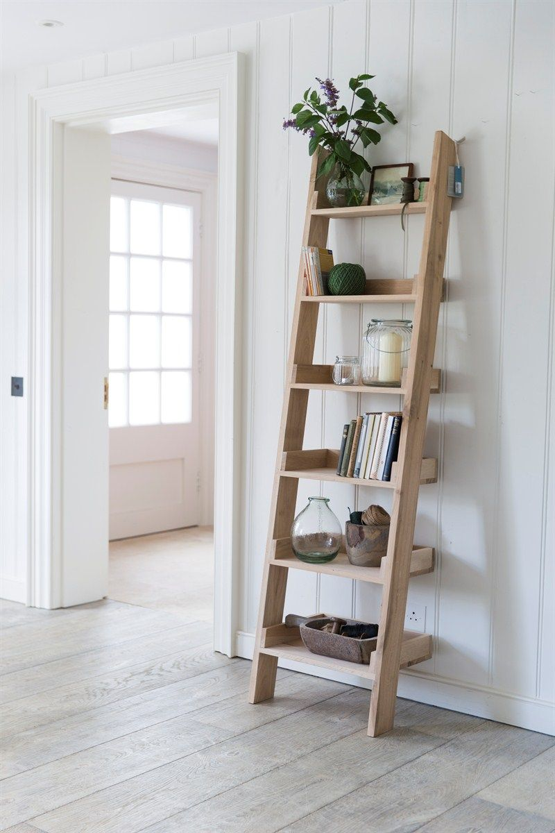our original raw oak shelf ladder with 6 graded shelves offers a striking and