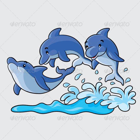 Dolphins Cartoon animal, blue, cartoon, cute, design ...