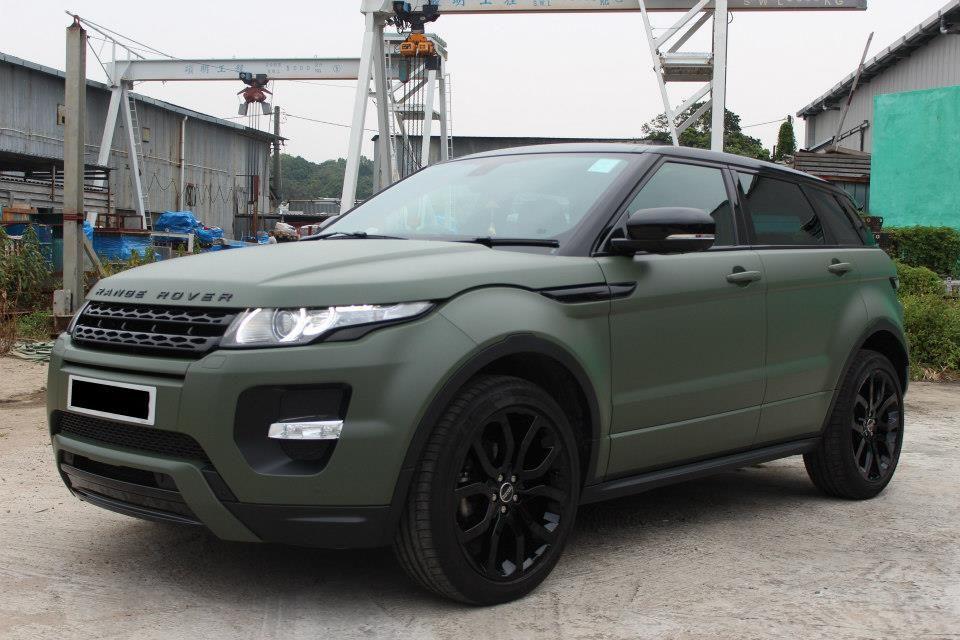 Matte Army Green Land Rover Range Evoque