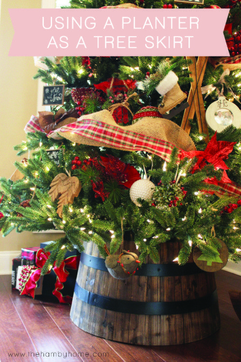 Using A Whiskey Barrel Planter As A Tree Skirt Or Tree Collar Traditional Christmas Tree Christmas Decorations Rustic Diy Christmas Tree