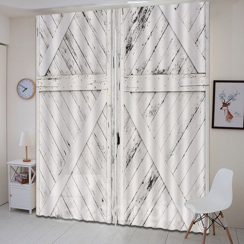 3d Antiqued Look Old Wooden Barn Door Printed Curtain With Images Wooden Barn Doors Printed Curtains Wooden Barn