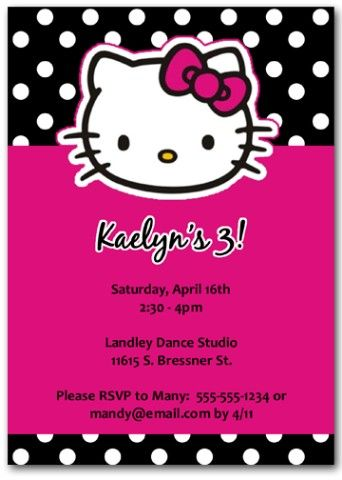 hello kitty birthday invitations custom party | ideas for bella's, Invitation templates