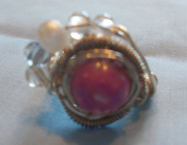 Purple flower and pearl bead silver wire wrapped by KingsfieldInn, $1.99