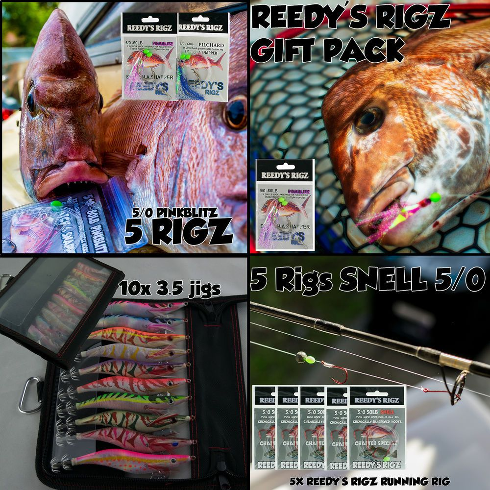 10 Flasher Rigs 5//0 Hooks Mixed Colour Paternoster 60lb Snapper Latcher