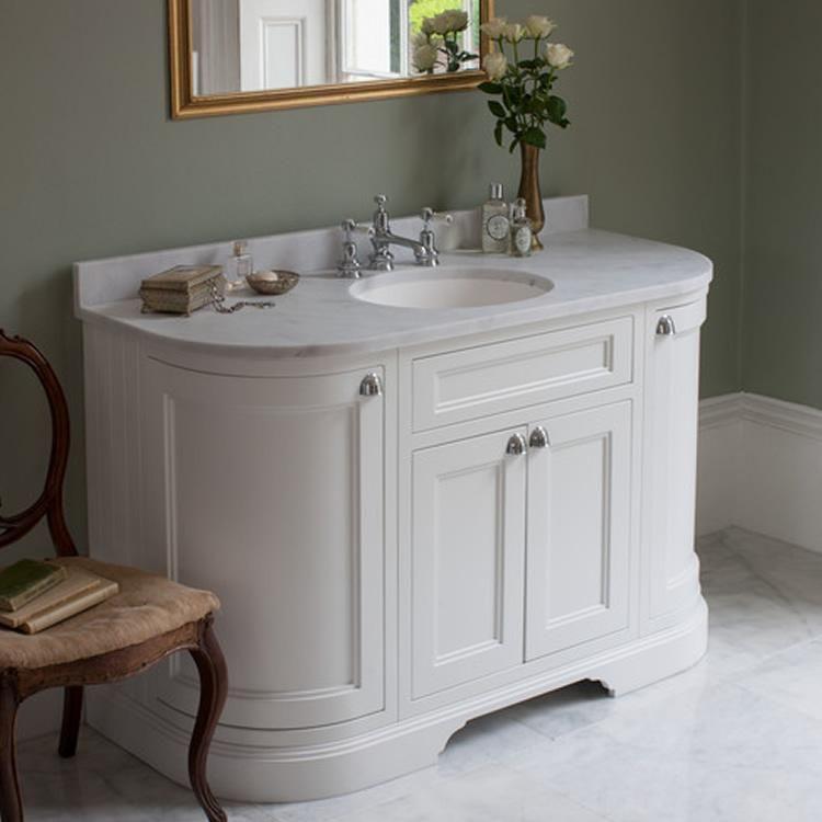 Burlington Matt White 1340mm Curved Freestanding Vanity Unit Worktop Basin Sanctuary Bathrooms Freestanding Vanity Unit Bathroom Vanity Units Sink Vanity Unit