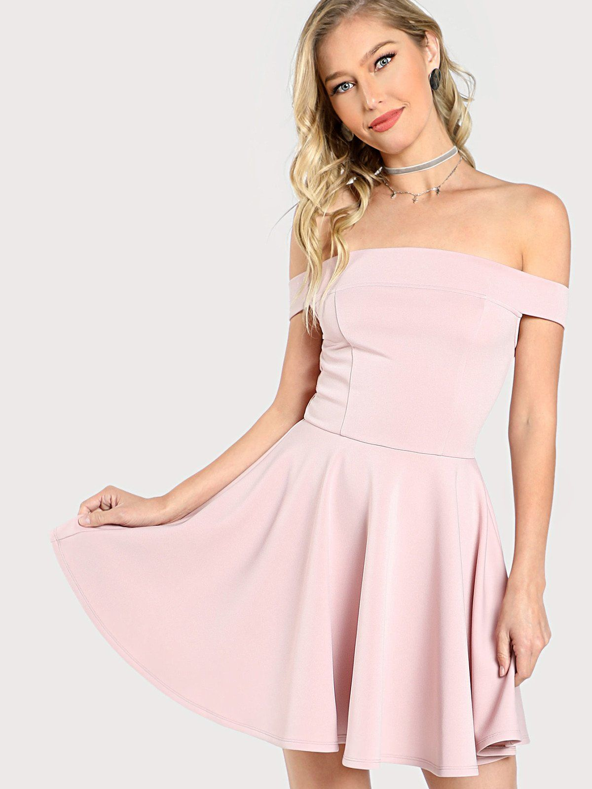 Pink dress design 2018  Fitted u Flared Bardot Dress  Bardot dress Bardot and Choices
