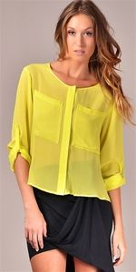 Sheer button-up - love this! Love the color- too bad I can't wear it. :(