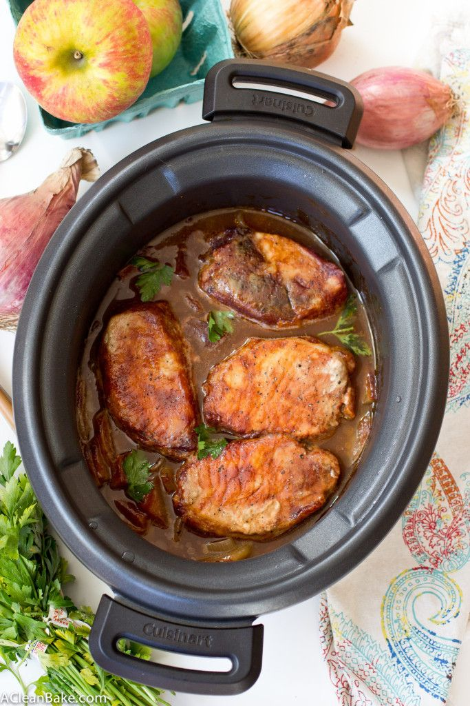 Crockpot Barbecue Pork Chops With Apples And Onions Recipe
