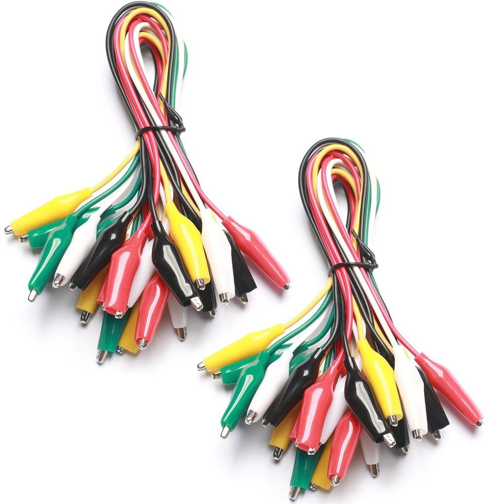 WGGE WG-026 20 Pieces and 5 Colors Test Lead Set Alligator Clips ...