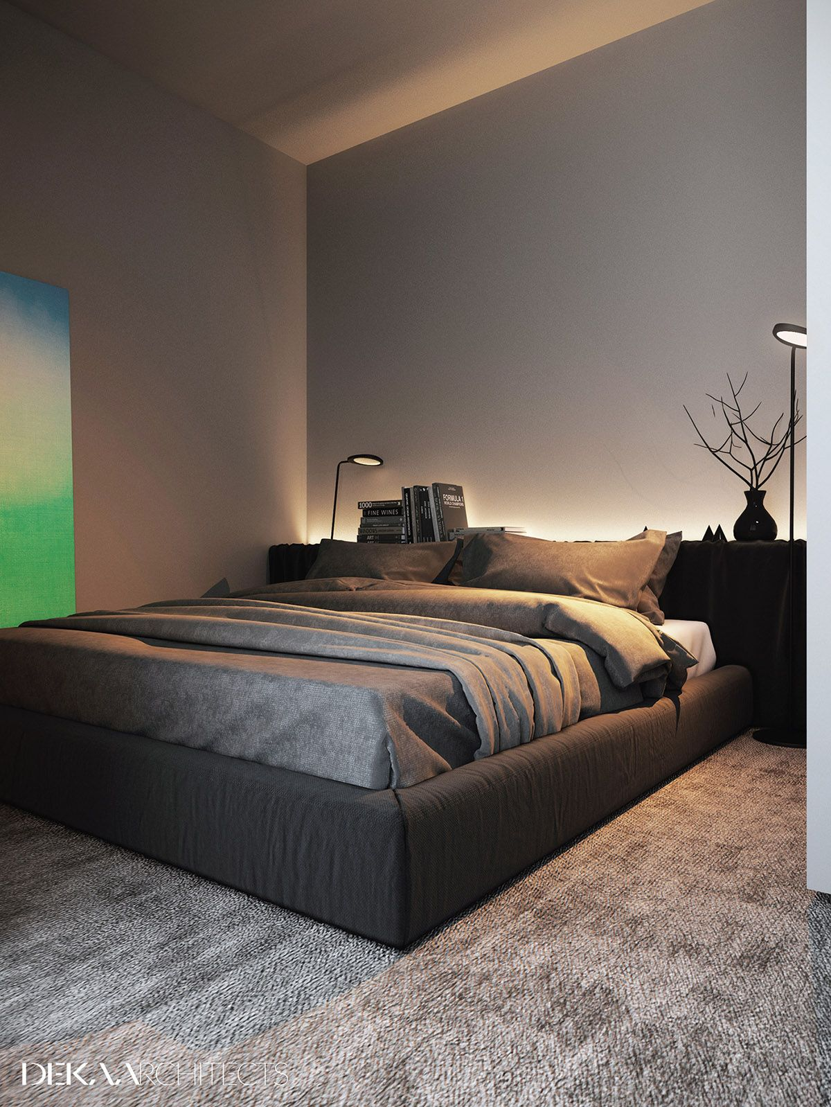 Grey Raw Masculine Interiors 36 Soft Bedroom Lighting Creates A Relaxing Ambiance Matching Lamps Provides Reading Light At Each Side Of The Bed