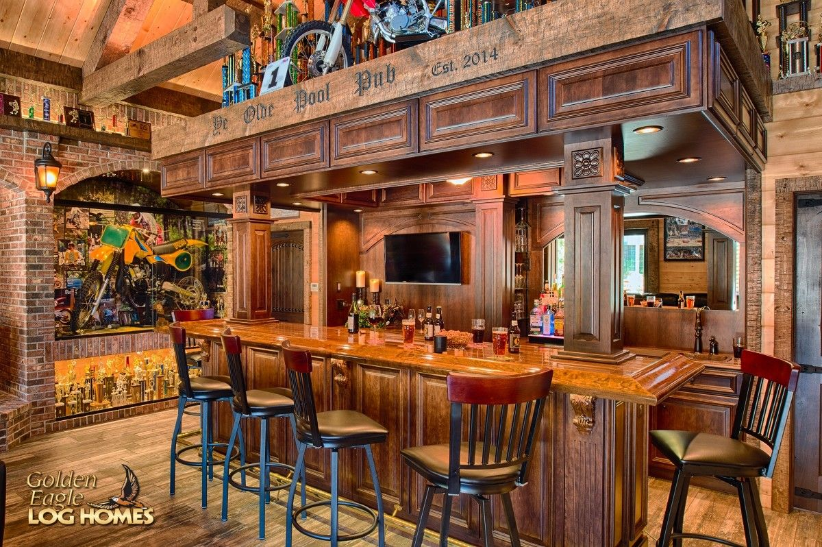 Exterior: Log Home By Golden Eagle Log Homes - Bar Close Up
