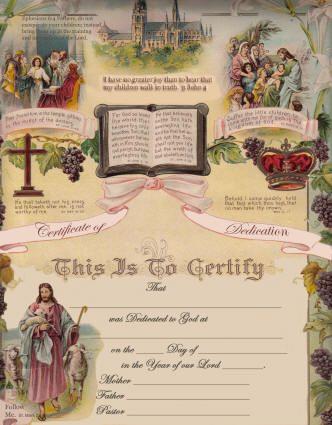 Baby Dedication Certificate Keepsake Church Dedication Ceremony - new ordination certificates printable