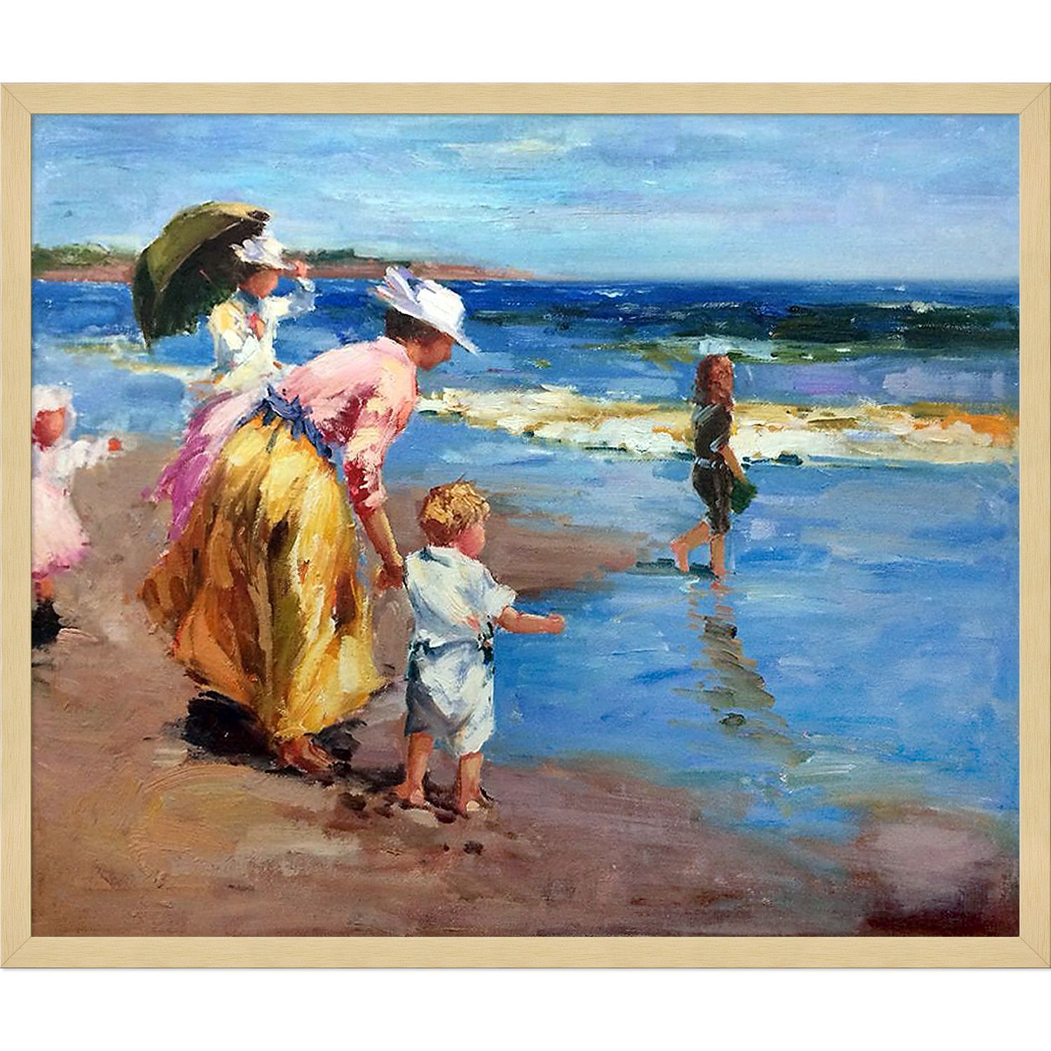Edward Potthast \'At the Beach\' Hand Painted Framed Canvas Art ...