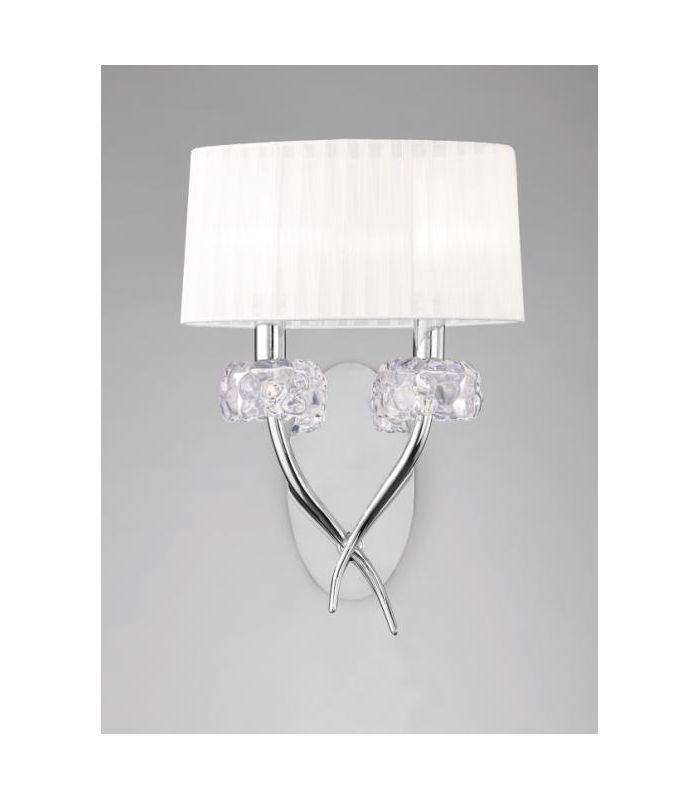 Para venta online de aplique LOEWE de MANTRA 2 luces cromo, disponible también en nuestras tiendas de Punto de Luz y Luminaria de todos los productos de Mantra.