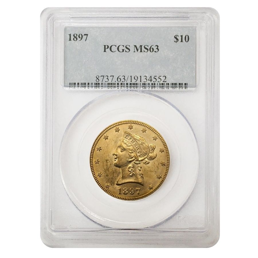 1897 10 Liberty Head Gold Eagle Coin Pcgs Ms 63 Gold Coins For Sale Gold Eagle Coins Pcgs
