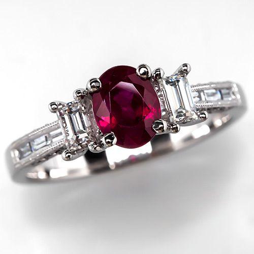 Estate+Ruby+Engagement+Ring+w/+Baguette+Diamonds+Platinum