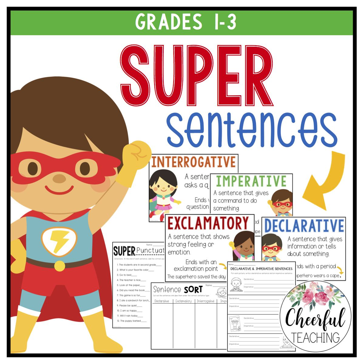 Super Sentences Perfect For Teaching Declarative Exclamatory Imperative And Interrogative Sentences Sentences Types Of Sentences Teaching