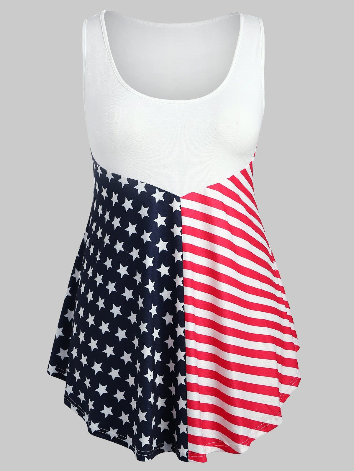ddbc6f2d4818c Plus Size Asymmetric Flag Print Tank Top in 2019