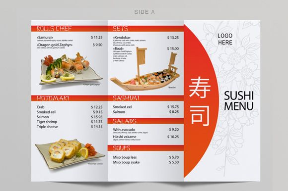 Tri-Fold Sushi Menu Template by itembridge creative store on Creative Market