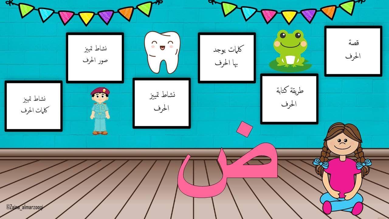 بوربوينت حرف الضاد لتعليم الاطفال الروضة بطريقة مميزة Alphabet For Kids Arabic Kids Education Poster