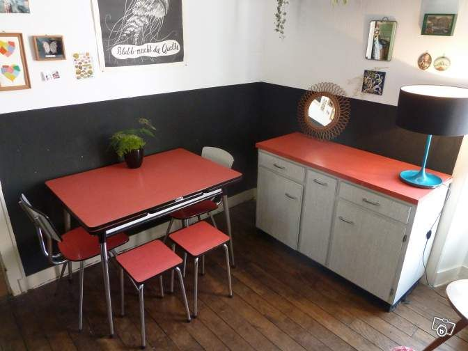buffet cuisine formica rouge annees 60