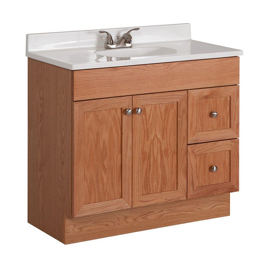 Shop Project Source 36 3 4 In X 18 7 8 In Oak Integral Single Sink