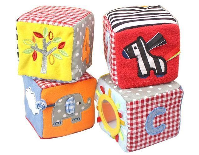 8.5cm Baby Blocks Soft Cloth Cubes Plush Building Blocks ...