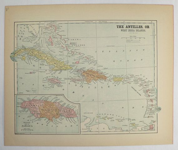Caribbean Islands Map West Indies Vintage Map Antique Map Of - Vintage map of cuba