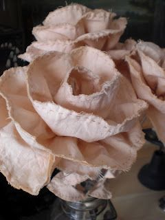 Hand stiched fabric roses.