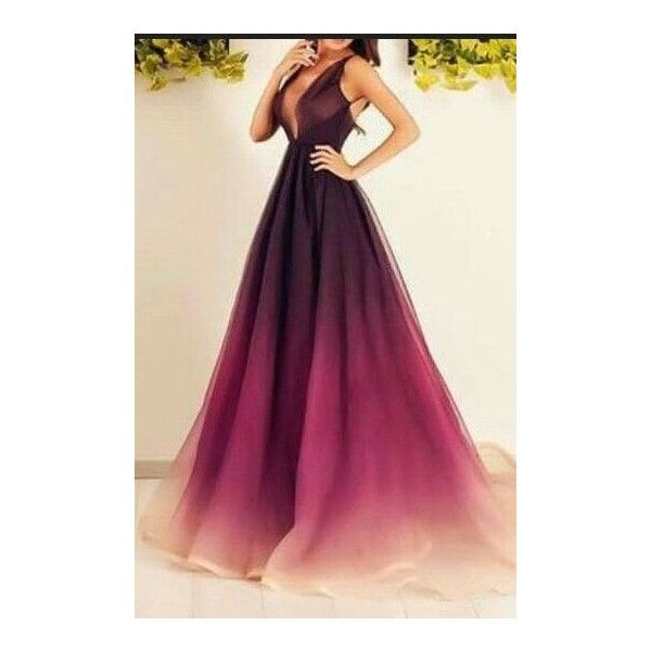 Ombre Chiffon Prom Dresses,Long Pro.. ❤ liked on Polyvore featuring dresses, purple chiffon dress, chiffon dress, long length dresses, purple dresses and long purple dress