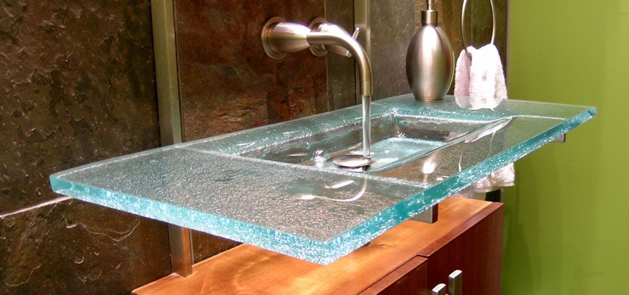 Glass Wall Panels With Sink Behind Signature Art Glass By Design Sinks Gallery Glass Countertops Glass Sink Sink