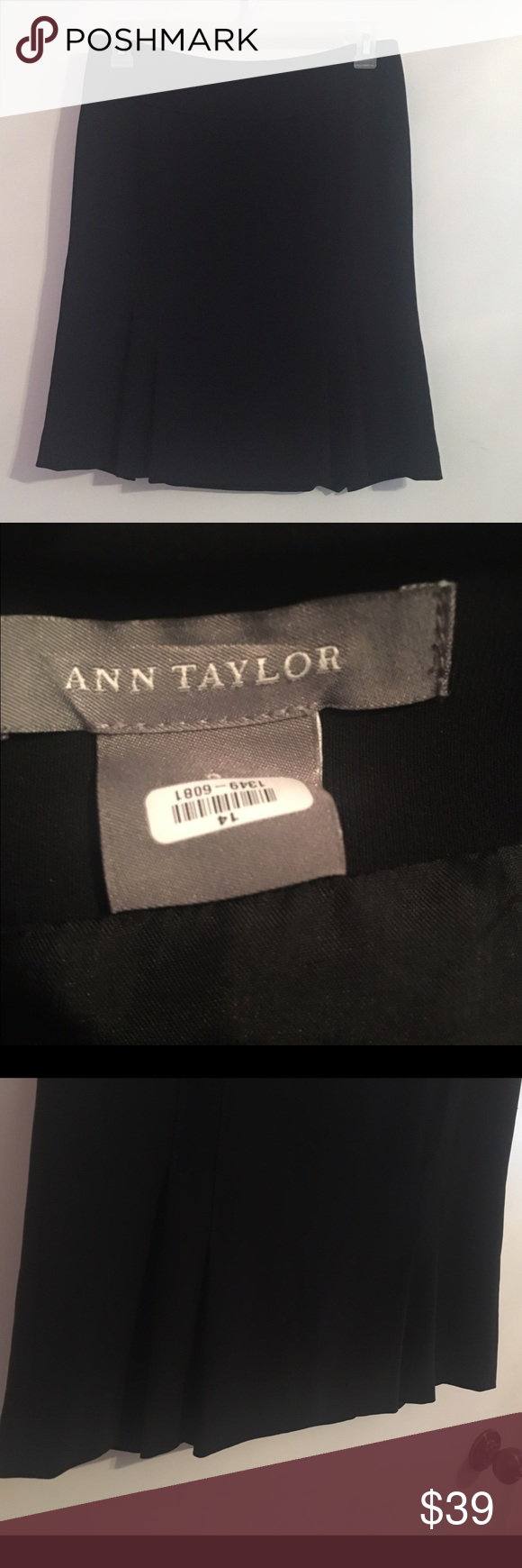 Ann Taylor Black Pleated Flare Skirt NWOT Ann Taylor Black Pleated Flare Skirt Sz 14 Pleats Flare out the bottom of Skirt. Absolutely gorgeous. Offers welcome! Ann Taylor Skirts