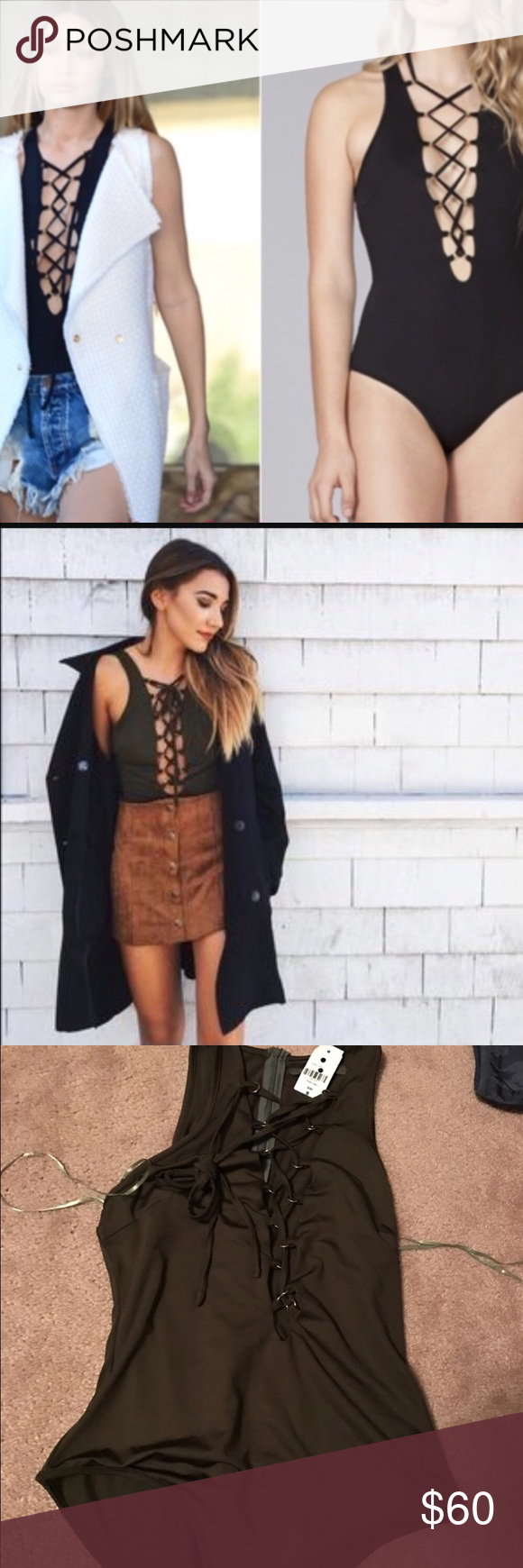 Rust lace bodysuit  NWT LF lace up bodysuit NWT LF olive green lace up bodysuit never