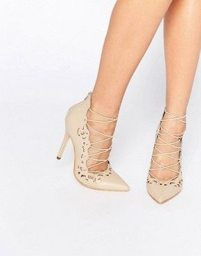 Public Desire Una Nude Lace Up Heeled Shoes  f46cd424298