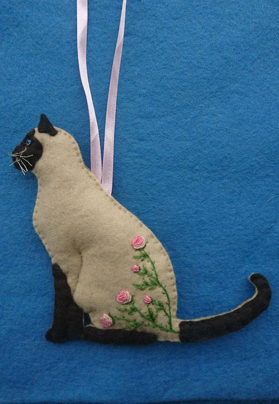 Seal Point Siamese Cat Felt Hanging Ornament With Hand Embroidered