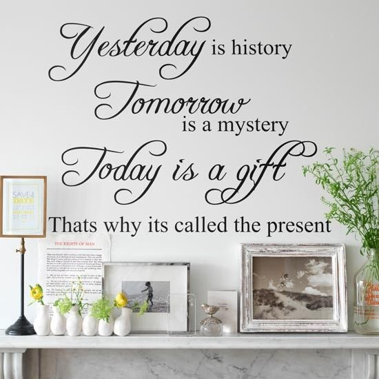 A bespoke wall sticker, featuring a quote that means something to you, makes the perfect decorating idea to accompany special family photos mounted in a selection of classic photo frames.