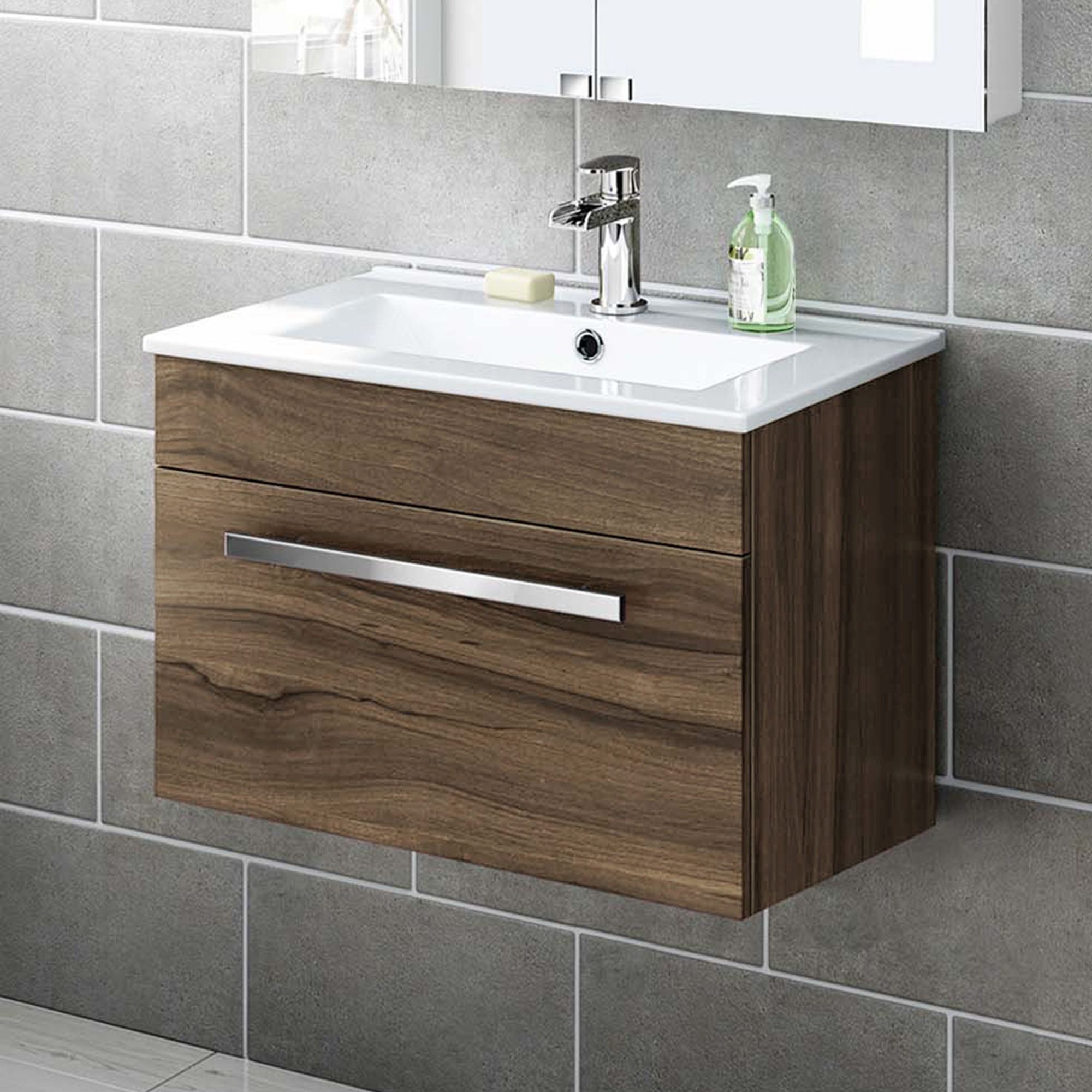 600mm Avon Walnut Effect Wall Hung Basin Cabinet