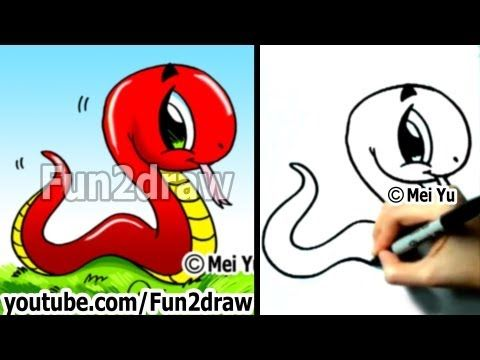 How To Draw A Snake Easy Things To Draw Cute Drawings Fun2draw Fun2draw Cute Cartoon Drawings Easy Drawings