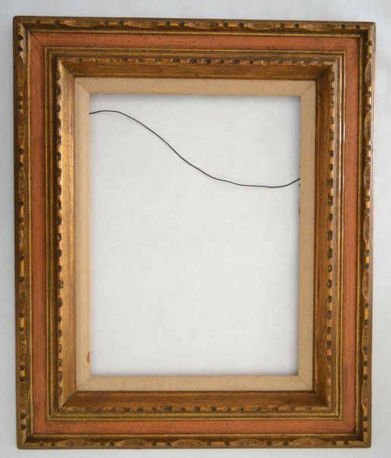 Vintage Modernist Style Bronze Gold Red Accents Wooden Picture Frame 12 X 16 Inches Exterior 20 1 4 X 24 1 4 I Wooden Picture Frames Wood Print Picture Frames