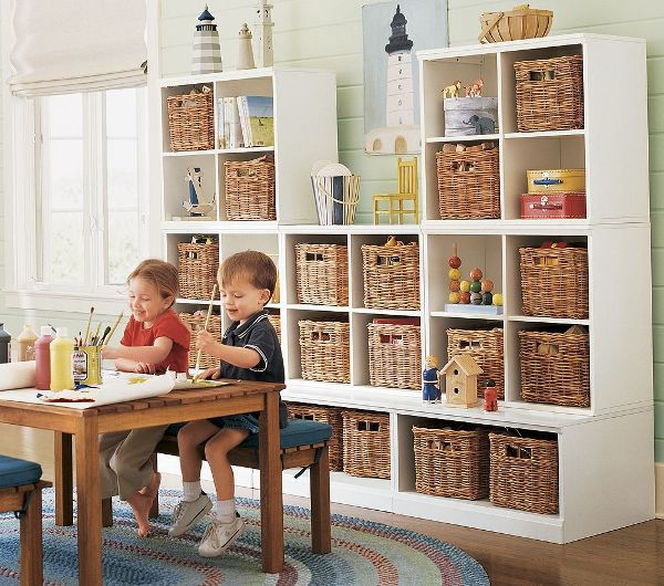 11 Tips For Keeping Kids Toys Organized: A Functional Shelf System With Rattan Baskets Allows You