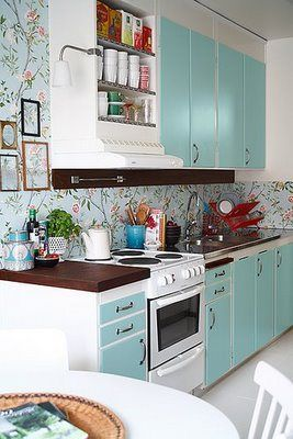 Obsessions Robin S Egg Blue Kitchen Inspirations Kitchen Wallpaper Retro Kitchen