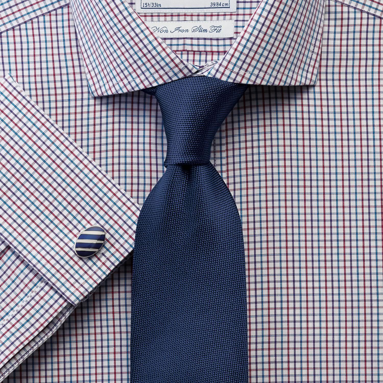Upton multi check non iron spread collar slim fit shirt for Mens dress shirts charles tyrwhitt