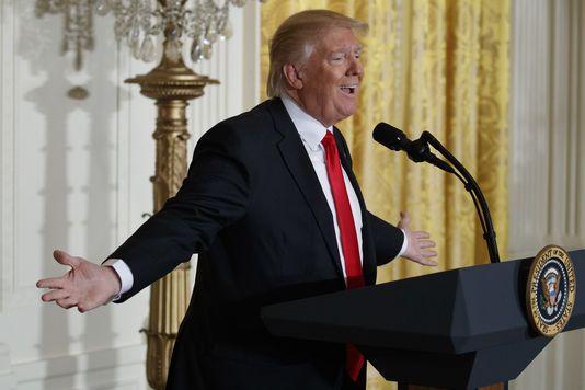 Donald Trump pendant sa conférence de presse le 16 février à Washington.