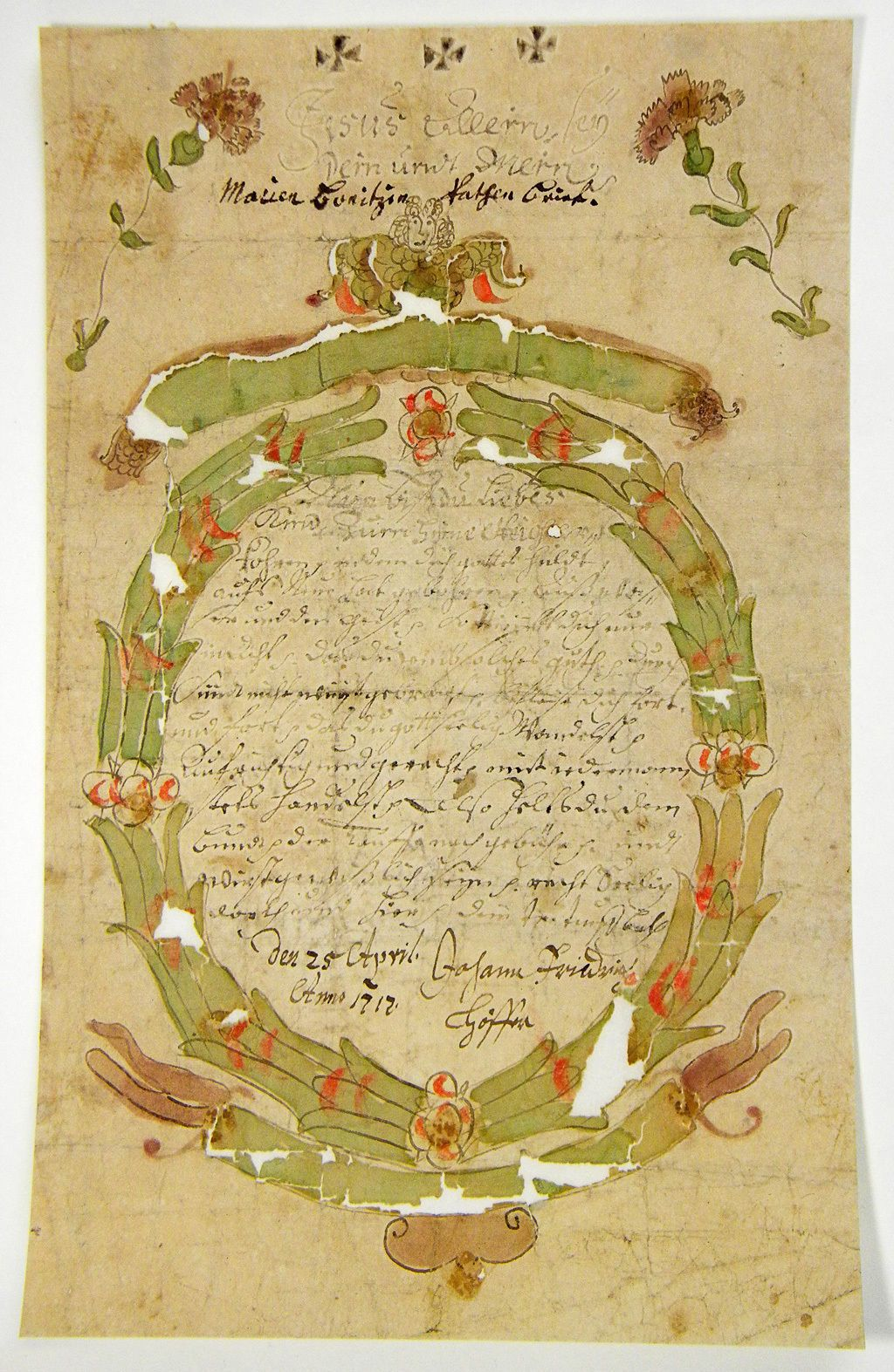 Handwritten Baptismal Letter Signed By The The Godparent Go Tter